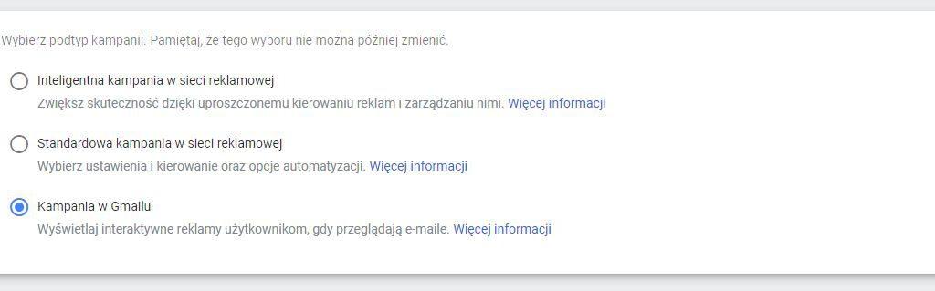 podtyp kampanii adwords gmail