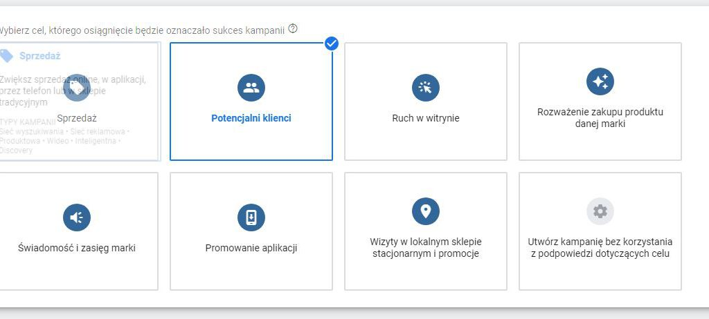 wybieramy cel kampanii gmail w adwords